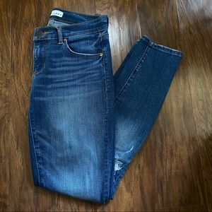 Ann Taylor Loft Blue Skinny Jeans with rips